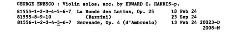 Enregistrements d'Enesco de 1924